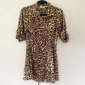 Calvin Klein leopard print shift dress with tie